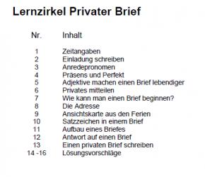 Lernzirkel Privater Brief