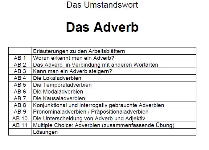 Ausgezeichnet Adverbien Der Frequenz Arbeitsblatt Ideen ...